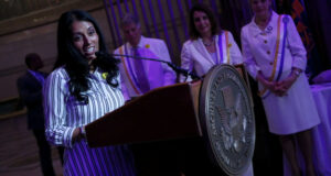 Mita Mallick (Unilever Head of Diversity and Cross Cultural Marketing) speaking at the National Archives Rightfully Hers Exhibit Grand Opening May 2019. | Image: Paul Morigi/Getty Images