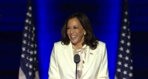Kamala Harris gives her victory speech as Vice President elect, in Delaware on November 7, 2020. Image: CNBC/Youtube