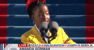 Amanda Gorman at the Biden/Harris Inauguration. Image: ABC News/Youtube