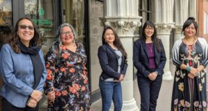 From L to R: Liz Gamboa/Executive Director NM Community Capital, Vanessa Roanhorse/Co-founder Native Women Lead, Alicia Ortega/Co-Founder Native Women Lead, Kalika Davis/Co-Founder Native Women Lead, Jaime Gloshay/Co-Founder Native Women Lead